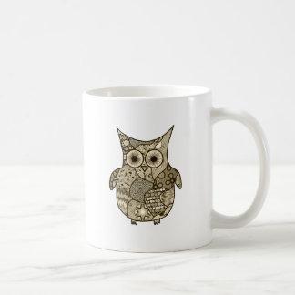 フクロウのコラージュ コーヒーマグカップ