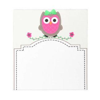 フクロウのシェブロンのかわいいメモ帳 ノートパッド