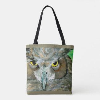 フクロウのデザイン: 両面の(ティール(緑がかった色)か暗灰色)トート トートバッグ