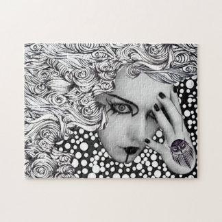 フクロウのパズルが付いているdottsの女性 ジグソーパズル