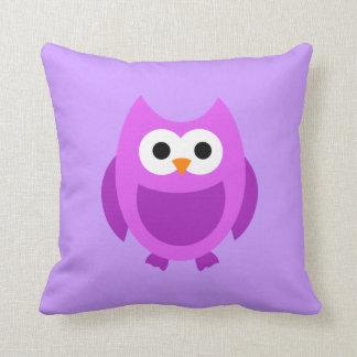 フクロウのフクロウの鳥の鳥の紫色のかわいい漫画の枕 クッション