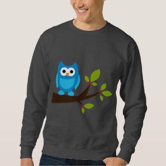 フクロウのフクロウの鳥の鳥の青くかわいい木の漫画動物 スウェットシャツ