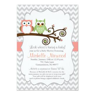 フクロウのベビーシャワーのピンクの招待状 カード