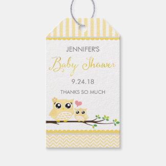 フクロウのベビーシャワーのメッセージカードの黄色のシェブロンのこつのラベル ギフトタグ