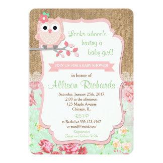 フクロウのベビーシャワーの招待のバーラップのレースのミントのピンク カード