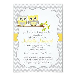 フクロウのベビーシャワーの招待状 カード