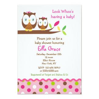 フクロウのベビーシャワー招待状の女の子 カード