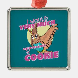 フクロウのユニコーン私は多くクッキーを認めます メタルオーナメント