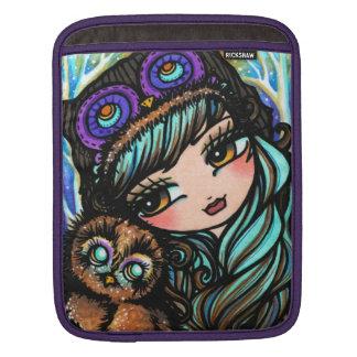 フクロウの女の子のハナリン著喜劇的な芸術のiPadの袖 iPadスリーブ