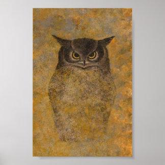 フクロウの日本人のファインアート ポスター
