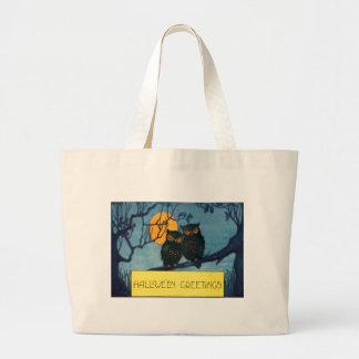 フクロウの木夜満月ハロウィン ラージトートバッグ