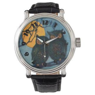 フクロウの木夜満月ハロウィン 腕時計