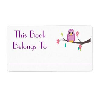 フクロウの本のステッカー ラベル