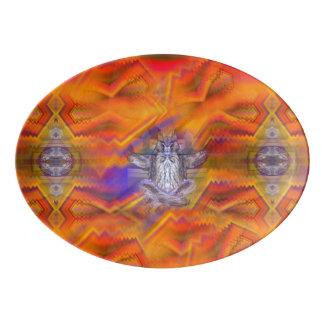 フクロウの浮遊残りのバランスの芸術のめい想 磁器大皿