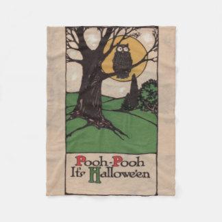 フクロウの満月の木夜 フリースブランケット