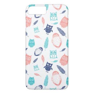 フクロウの珊瑚の青はiPhone 7のプラスの箱に羽をつけます iPhone 8 Plus/7 Plusケース