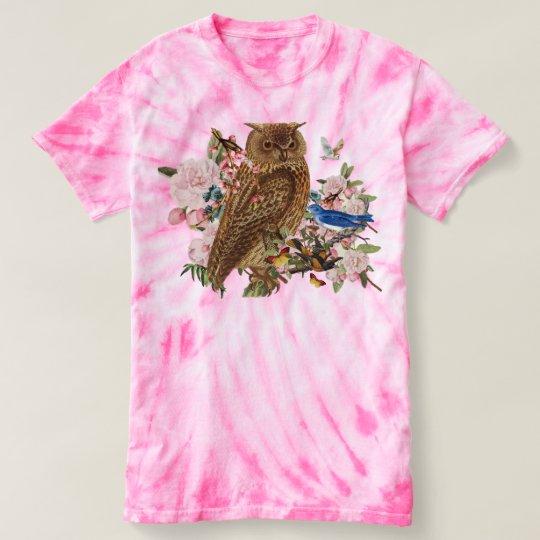 フクロウの精神の動物のTieDyeのTシャツ Tシャツ
