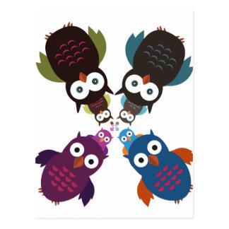 フクロウの群集 ポストカード