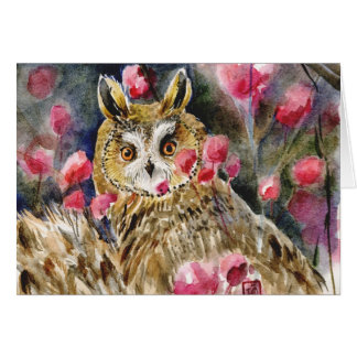 Owl blossom watercolor painting