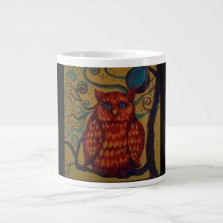 フクロウの芸術のプリントが付いているジャンボコーヒー・マグ ジャンボコーヒーマグカップ