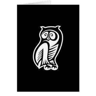 フクロウの記号の黒 カード