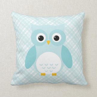 フクロウの青い格子縞パターンかわいいchildrenの装飾用クッション クッション
