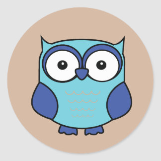 フクロウの青および水 ラウンドシール