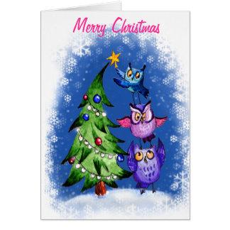 フクロウの` sのクリスマスの青 カード