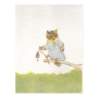 フクロウのSchoolmarmはBluebellを鳴らします ポストカード