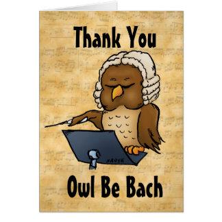 フクロウはおもしろいなBach感謝していしていますホスピタリティカードです カード