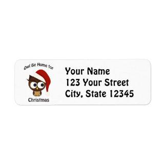 フクロウはクリスマスのために家です! 返信用宛名ラベル
