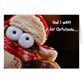 フクロウはクリスマスの休日の挨拶状のためにIほしいです カード