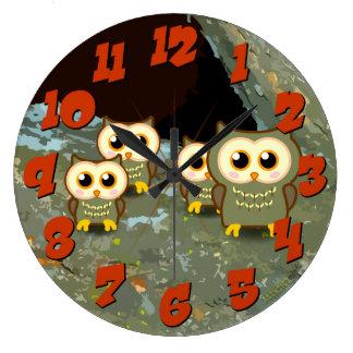 フクロウ家族 ラージ壁時計