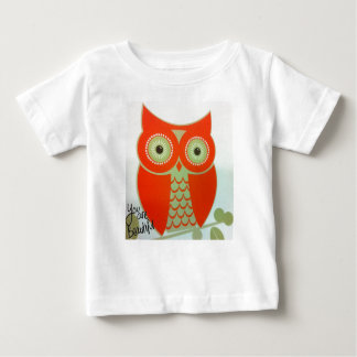 フクロウ白い美しいベビーの罰金のTシャツです ベビーTシャツ