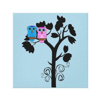 フクロウ-愛鳥-かわいくロマンチックな壁の芸術 キャンバスプリント