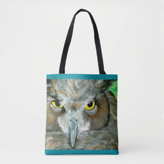 フクロウ: 羽の詳細とのターコイズのアクセント トートバッグ