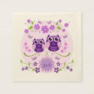 フクロウ、花及び蝶カスタムのイニシャル スタンダードカクテルナプキン