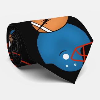 フットボールおよびヘルメットのテーマの黒の背景 オリジナルネクタイ