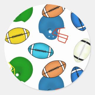 フットボールおよびヘルメットのテーマ 丸形シールステッカー