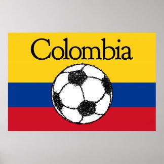 フットボールのコロンビアの旗 ポスター