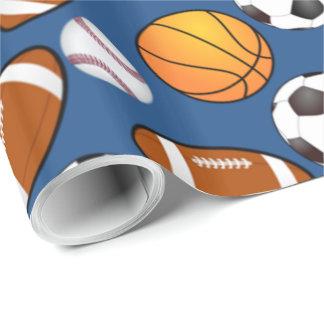 フットボールのサッカーの野球のバスケットボールパターンを遊ばします ラッピングペーパー