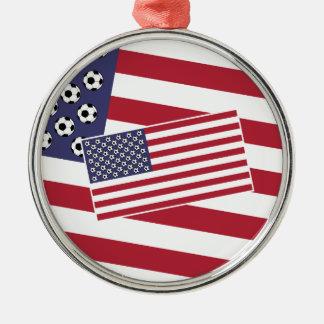 フットボールのサッカー米国の旗 メタルオーナメント