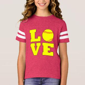 フットボールのスタイルの女の子のFastpitch愛ジャージーのワイシャツ Tシャツ