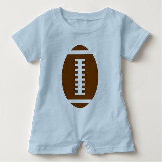 フットボールのベビーの淡いブルーの|前部フットボールのグラフィック ベビーロンパース
