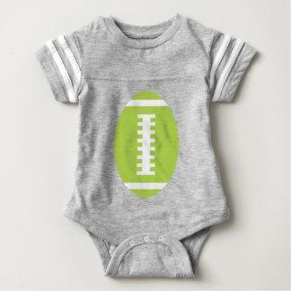 フットボールのベビーの灰色|の前部ライムグリーンのフットボール ベビーボディスーツ