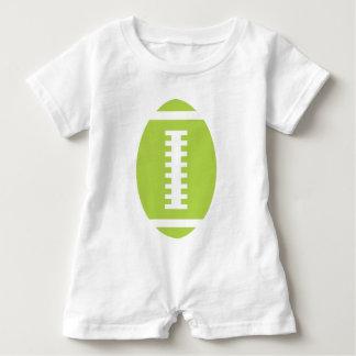 フットボールのベビーの白|の前部ライムグリーンのフットボール ベビーロンパース