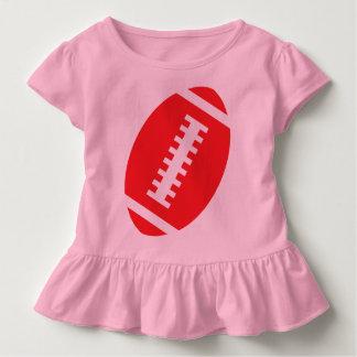 フットボールの幼児のピンク|の前部赤いフットボール トドラーTシャツ