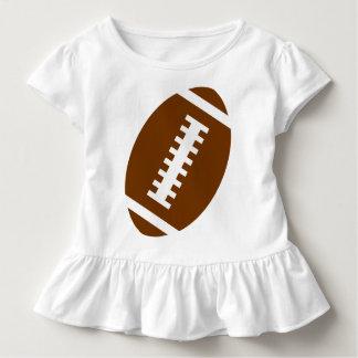 フットボールの幼児の白|の前部フットボールのグラフィック トドラーTシャツ