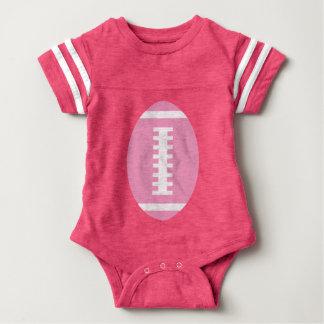 フットボールの明るいピンク|の前部ピンクのフットボールのグラフィック ベビーボディスーツ