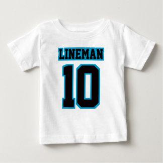 フットボールのCrewneckの前部白く黒く青いティー ベビーTシャツ